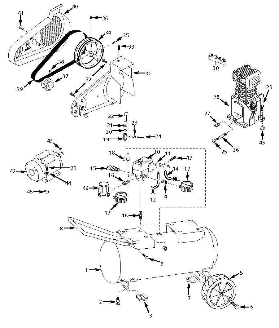 VS500602, VS503100, VS623102 - Air Compressor Parts schematic