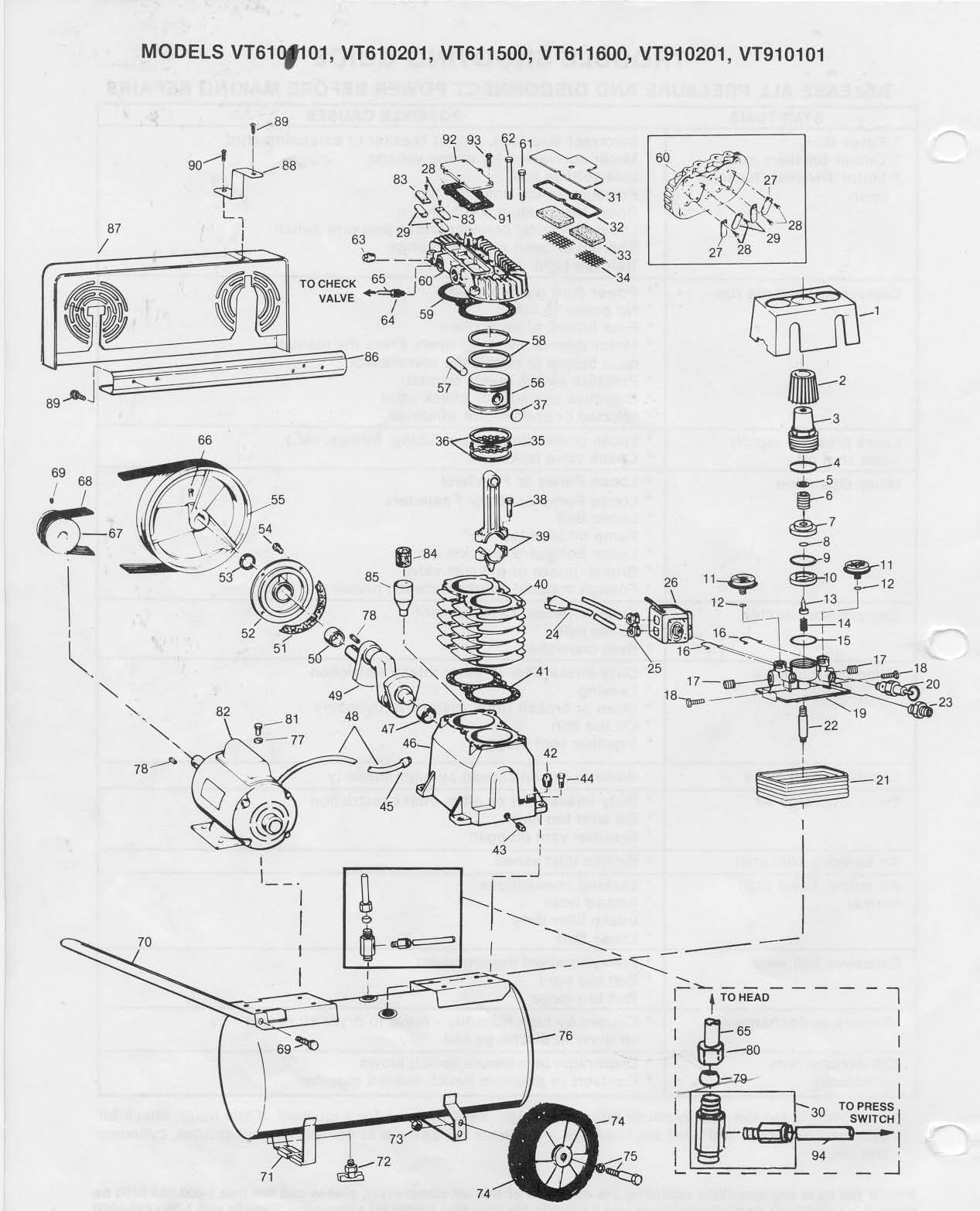 VT610101, VT610201, VT610202 - Air Compressor Parts schematic