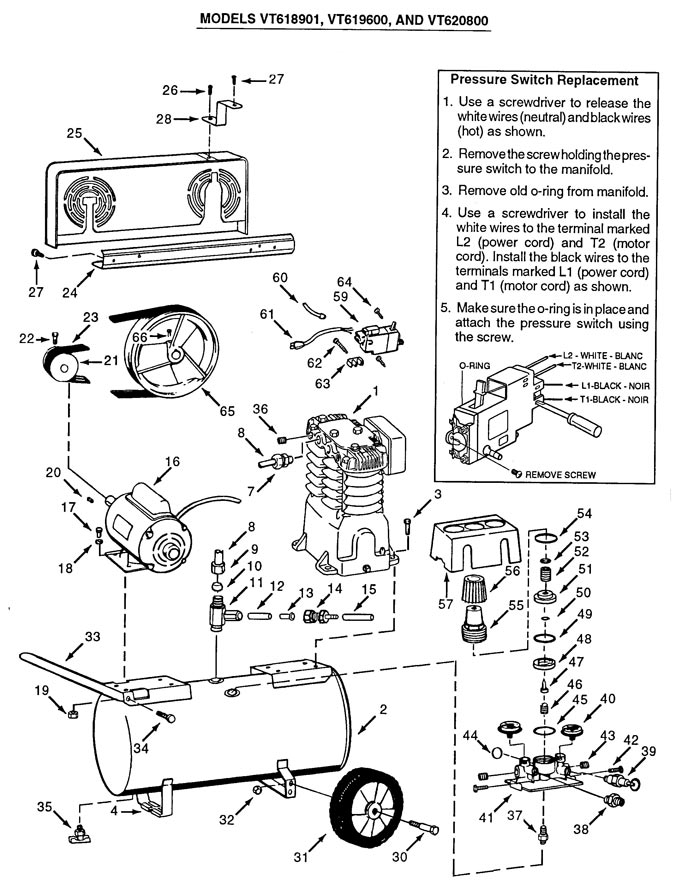 VT619600AJ, VT618901, VT620800 - Air Compressor Parts schematic