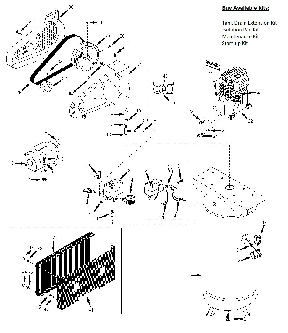 VT6314_Schematic_Page_1 husky vt6314, vt6314hdrb air compressor parts, husky parts husky air compressor wiring diagram at edmiracle.co