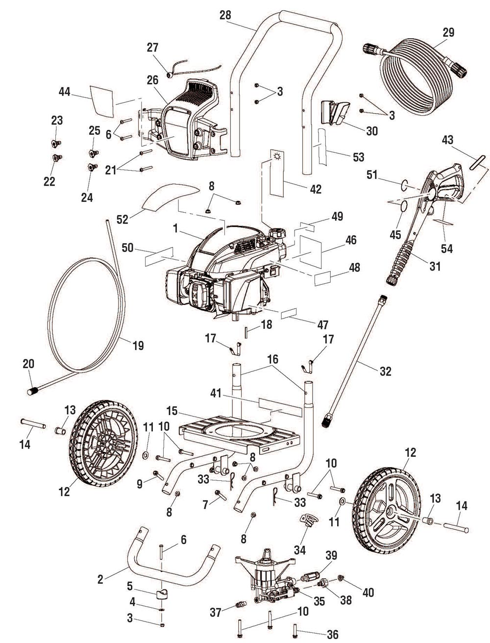 WF80710, WF80911 - Pressure Washer Parts schematic