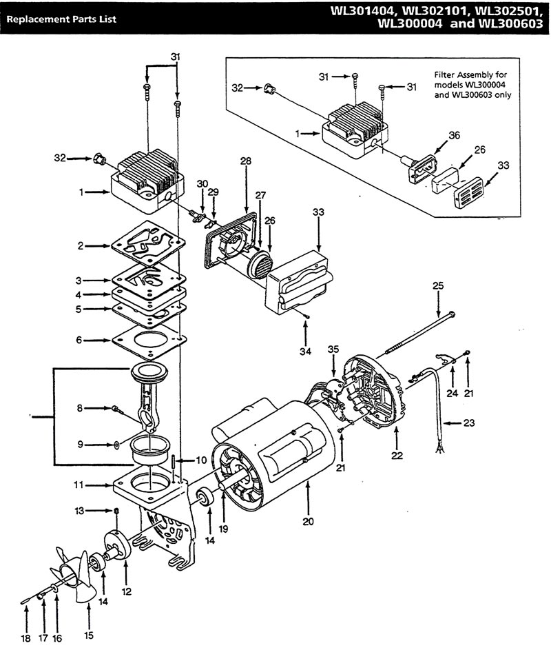 WL302501, WL302501AJ - Air Compressor Pump Parts schematic