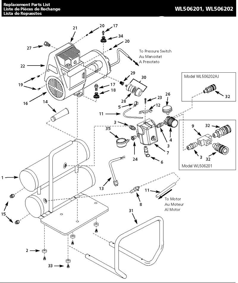 WL506201, WL506202 - Air Compressor Parts schematic