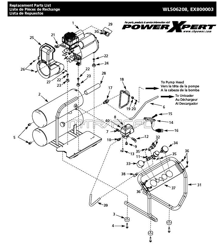 WL506208, WL506208AJ, EX800003 - Air Compressor Parts schematic