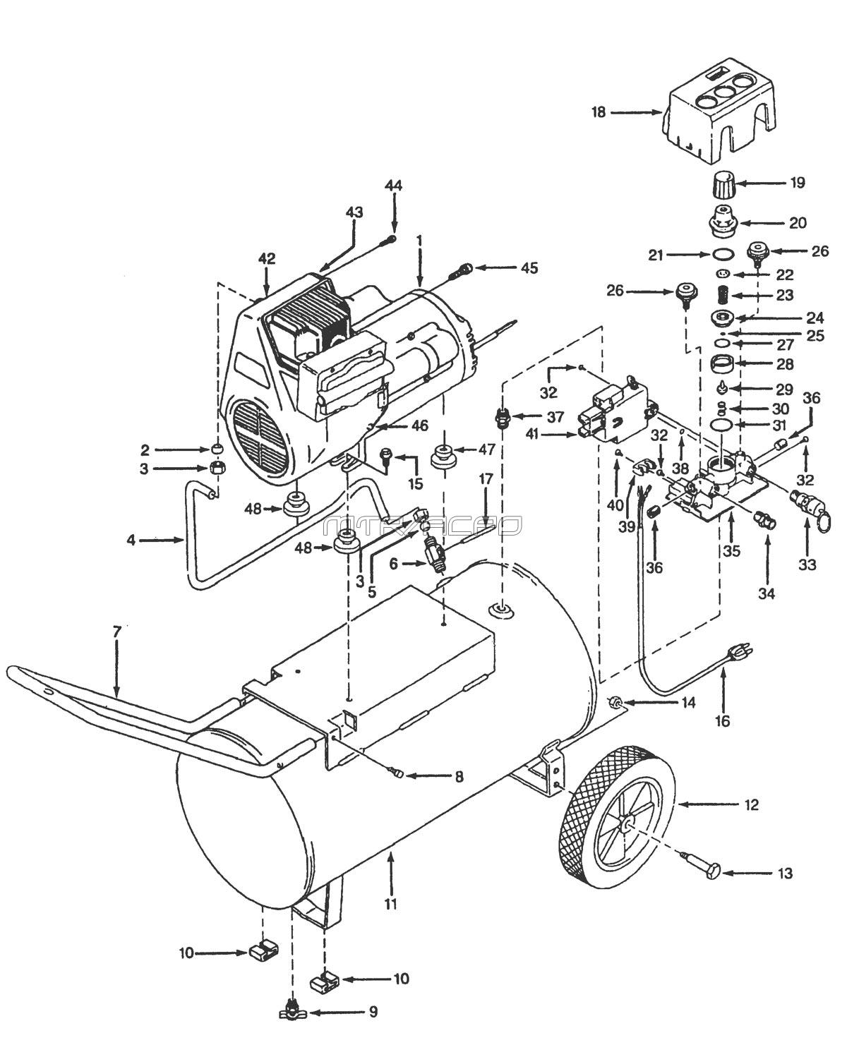 WL600701_WL600601_WL600801_parts campbell hausfeld parts wl600601, wl600701, wl600801, wl601101 air campbell hausfeld air compressor wiring diagram at soozxer.org