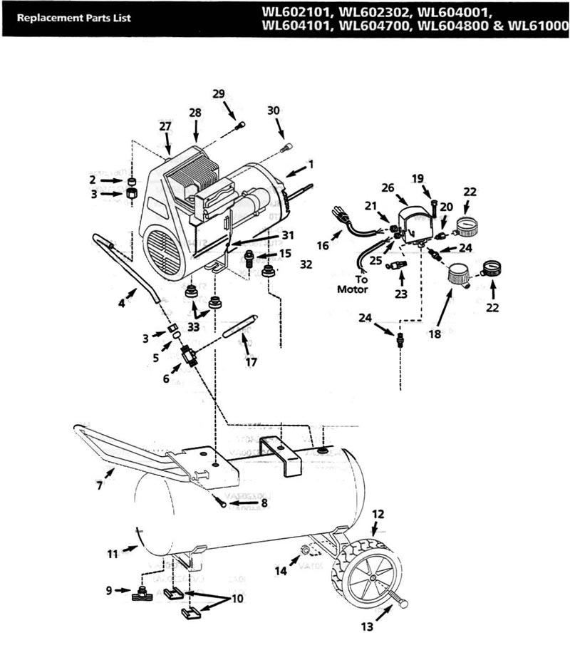 WL602101, WL602302, WL610000, WL604001, WL604101, WL604 - Air Compressor Parts schematic