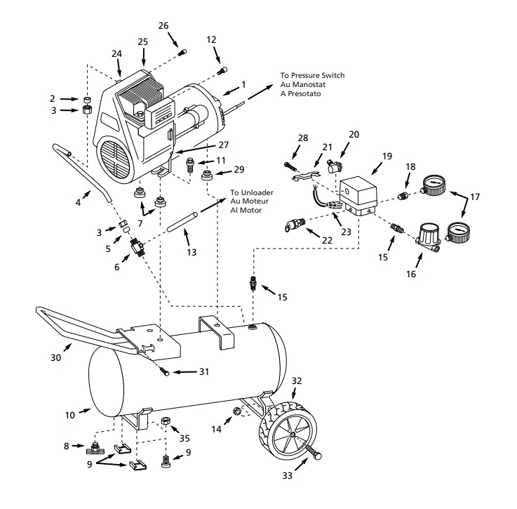 WL604002, WL604002AJ - Portable Oil-Free Air Compressor Parts schematic