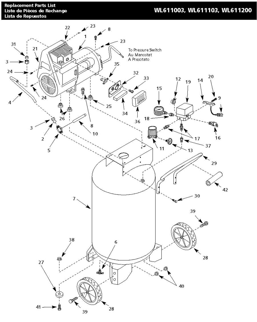 WL611103AJ, WL611003, WL611200, WL611200AJ - Air Compressor Parts schematic