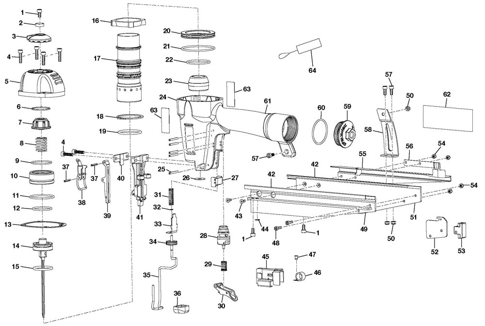 YN250FS - Pneumatic Finish Nailer Parts schematic