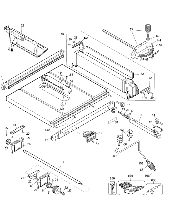 Dewalt dw744 type 3 jobsite table saw parts dw744 type 3 table group parts keyboard keysfo Images