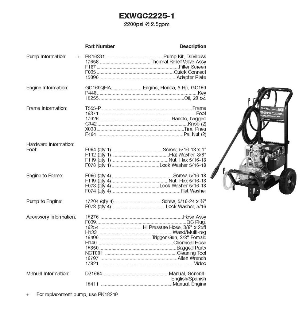 EXWC2225, EXWGC2225 - Air Compressor Parts schematic