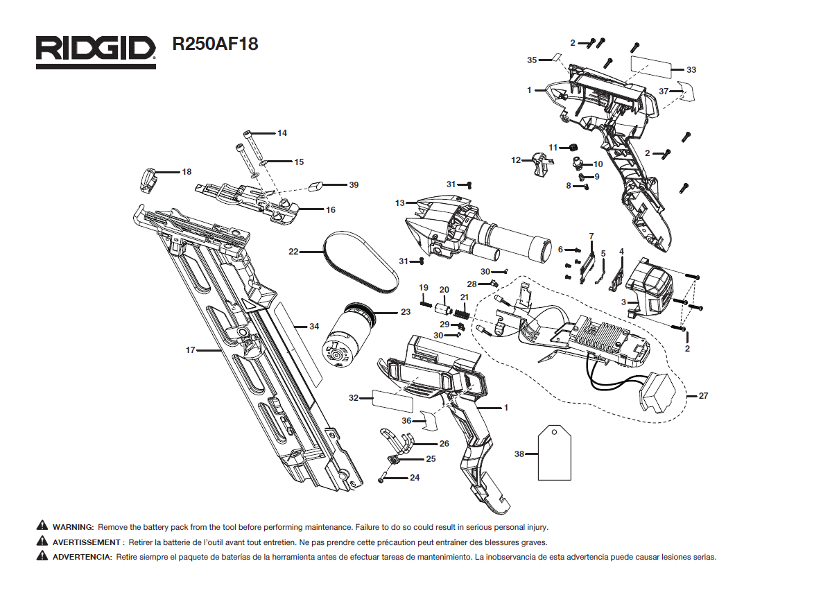 R250AF18 - Cordless Finish Nailer Parts schematic