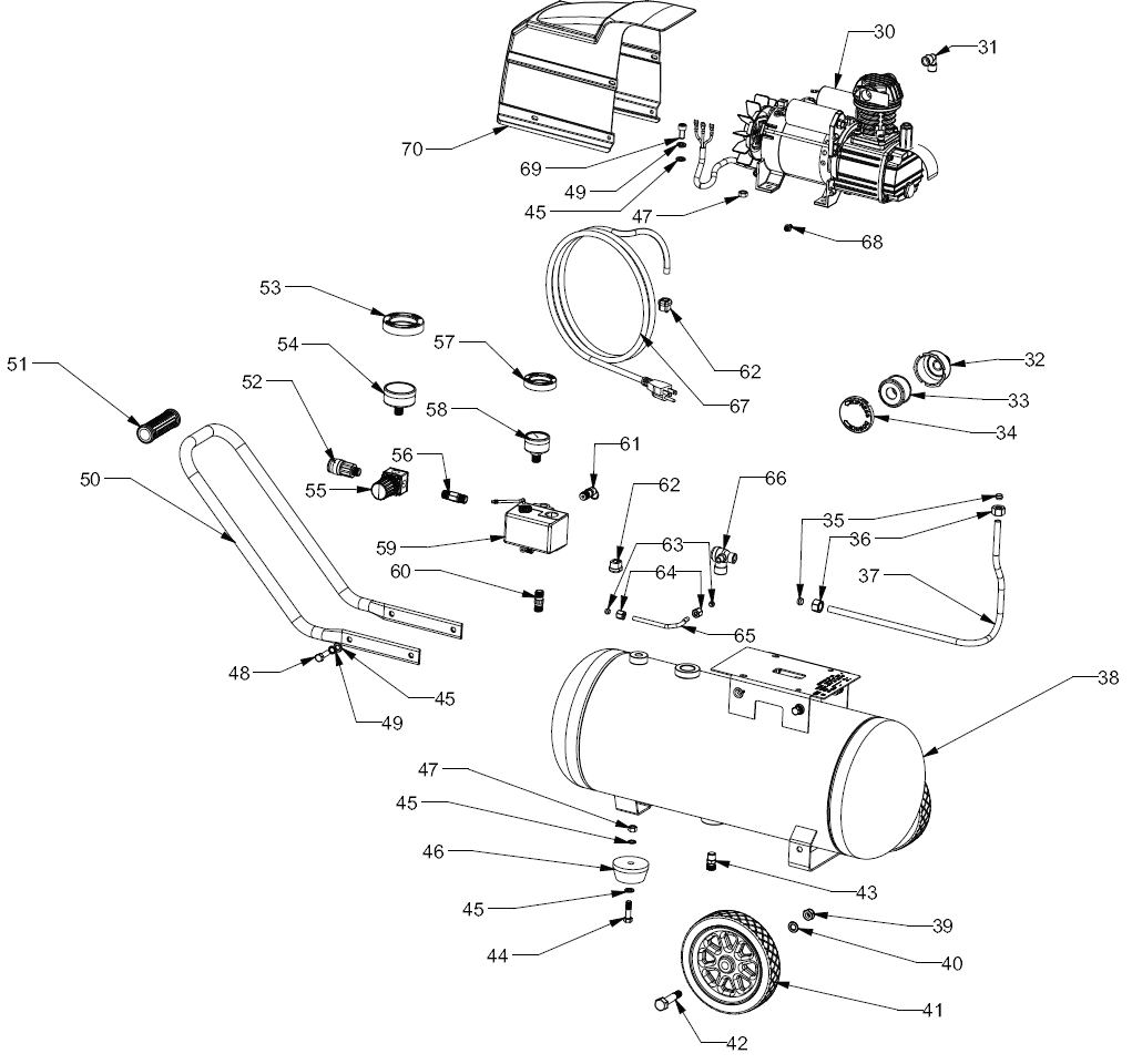 921.153640 - Portable Air Compressor Parts schematic