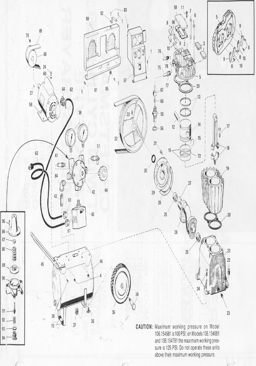 Craftsman Twin Cylinder Air Compressor 106154581 Schematic Click To Enlarge Close Slide Zoom Image