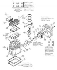 Oil-Bath, Electric Air Compressor Pump Repair Parts - CP0302013, P0302013, 040-0309 pump