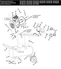 WL605001, WL605101, WL605202, WL605301, WL610002 - Air Compressor Parts