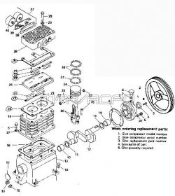 84A, 104A, 112A, 143, 400A, 500A - Air Compressor Pump Parts schematic