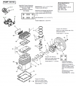 040-0221, 040-0222, 040-0429, 040-0430 - 130 & 165 Pump Parts schematic