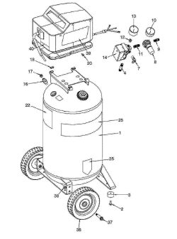 919.166440 - Portable Oil-Free Electric Air Compressor Parts schematic