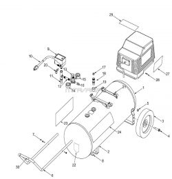 919.167241 - Portable Oil-Free Electric Air Compressor Parts schematic
