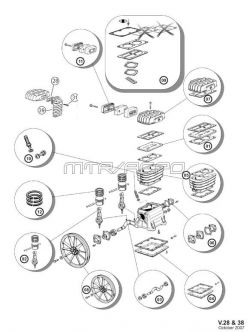 B2800, B3800, NS18S - Air Compressor Pump Parts schematic