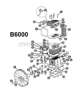 B6000 - Two-Stage Air Compressor Pump Parts schematic