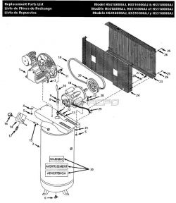 HS418000AJ, HS518000AJ, HS518100AJ, HS51 - Air Compressor Parts schematic