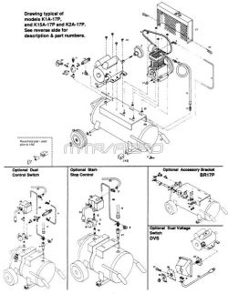 K1A-17P, K15A-17P, K2A-17P - Air Compressor Parts schematic