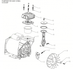 F215VWP, F2B2 - Air Compressor Pump Parts schematic
