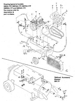 G8HGA-17P, G8GA-17P, G8CGA-17P, G8VGA-17P, G8KGA-17P - Wheeled Portable Oil-Bath Air Compressor Parts schematic