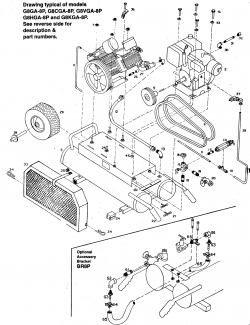 G8HGA-8P, G8GA-8P, G8CGA-8P, G8VGA-8P, G8KGA-8P - Wheeled Portable Oil-Bath Air Compressor Parts schematic