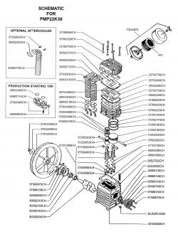 K30, K30HU - Air Compressor Pump Parts schematic