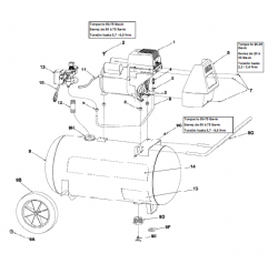 P0401110, P0501110, P0502010, VP0502510, CP04011 - Air Compressor Parts schematic