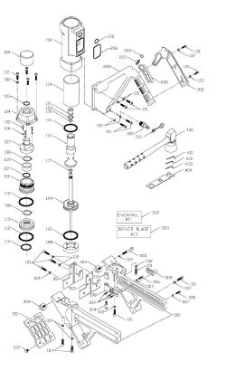 FCN200 - Pneumatic Flooring Cleat Nailer Parts schematic