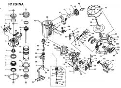 R175RNA - Pneumatic Coil Roofing Nailer Parts schematic