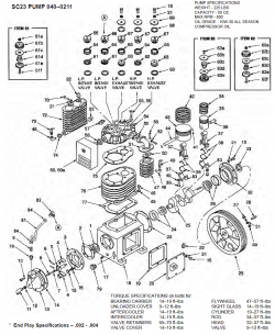040-0211, SC23 PUMP, 705 - Air Compressor Pump Parts schematic