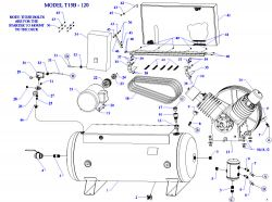 T15B-120,T15B-240,T20B-120,T20B-240,T25B-120, T25B-240 - Air Compressor Parts schematic