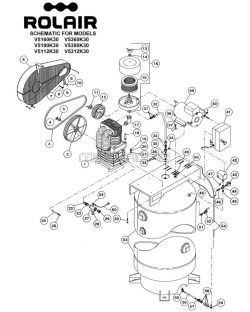 V5160K30, V5180K30 - Air Compressor Parts schematic