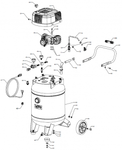 VLP1581727 - Wheeled Portable Oil-Free Air Compressor Parts schematic