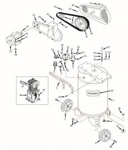 VS502500, VS502500AJ - Portable Single-Stage Oil-Bath Electric Air Compressor Parts schematic