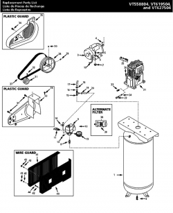 VT627504, VT619504, VT558804, VT633500, EX840500 - Air Compressor Parts schematic