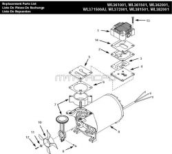 WL371500AJ, WL371101AJ - Air Compressor Pump Parts schematic