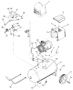 RAF412 - Portable Oil-Free Electric Air Compressor Parts schematic